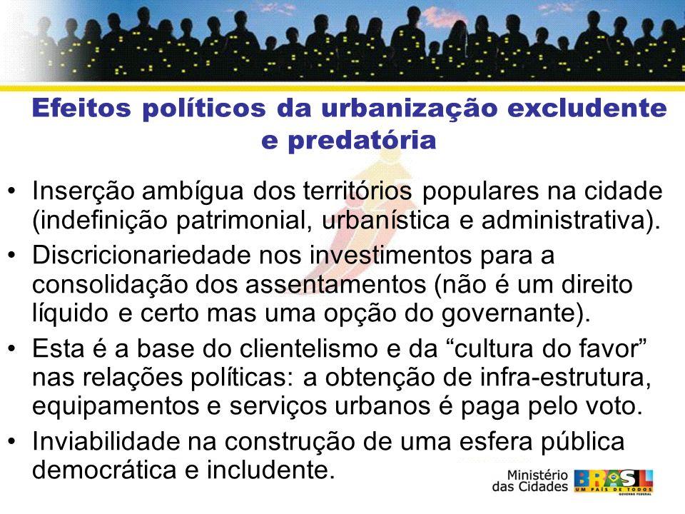 Efeitos políticos da urbanização excludente e predatória Inserção ambígua dos territórios populares na cidade (indefinição patrimonial, urbanística e