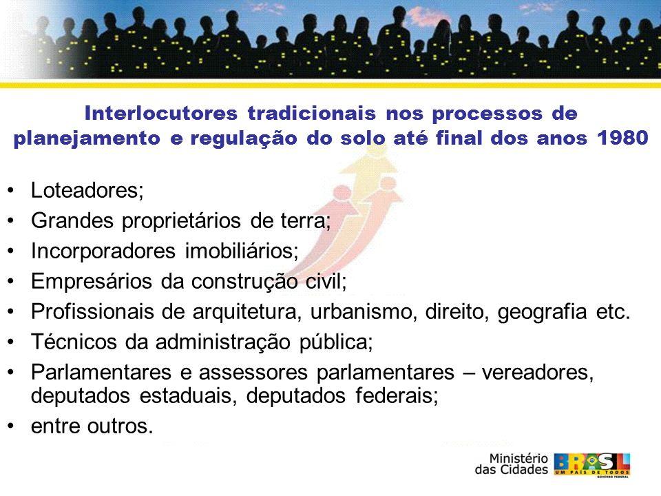 Interlocutores tradicionais nos processos de planejamento e regulação do solo até final dos anos 1980 Loteadores; Grandes proprietários de terra; Inco