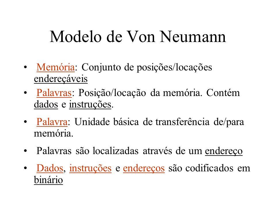 Modelo de Von Neumann Memória: Conjunto de posições/locações endereçáveis Palavras: Posição/locação da memória. Contém dados e instruções. Palavra: Un