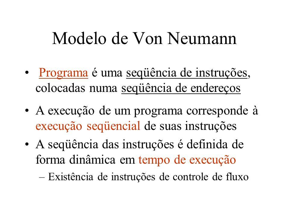 Modelo de Von Neumann Programa é uma seqüência de instruções, colocadas numa seqüência de endereços A execução de um programa corresponde à execução s