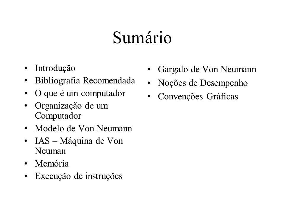 Sumário Introdução Bibliografia Recomendada O que é um computador Organização de um Computador Modelo de Von Neumann IAS – Máquina de Von Neuman Memór
