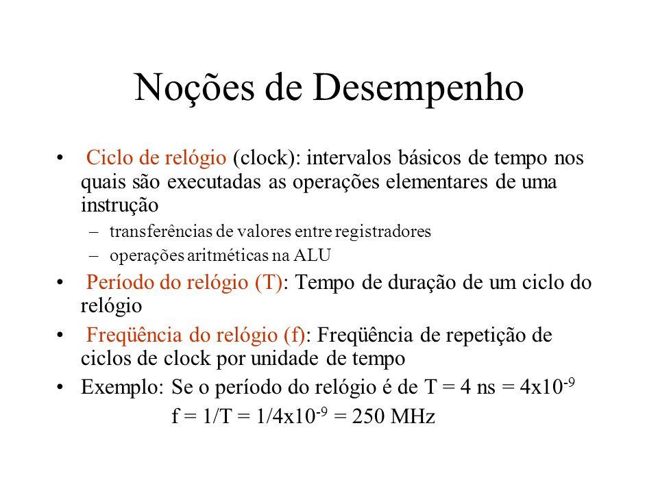 Noções de Desempenho Ciclo de relógio (clock): intervalos básicos de tempo nos quais são executadas as operações elementares de uma instrução –transfe