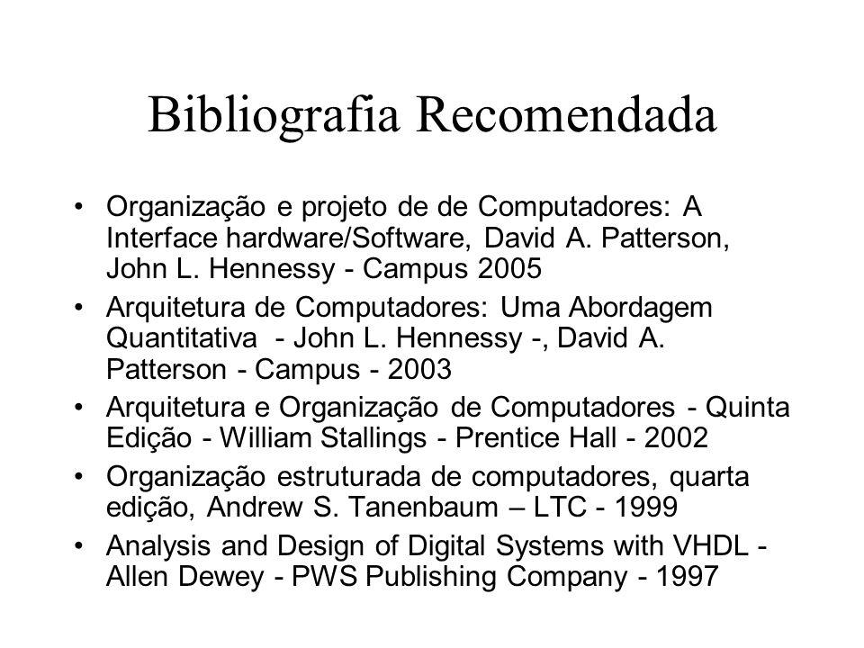 Bibliografia Recomendada Organização e projeto de de Computadores: A Interface hardware/Software, David A. Patterson, John L. Hennessy - Campus 2005 A
