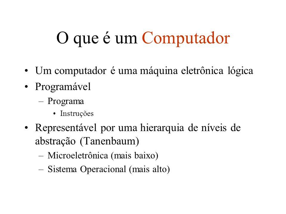 O que é um Computador Um computador é uma máquina eletrônica lógica Programável –Programa Instruções Representável por uma hierarquia de níveis de abs