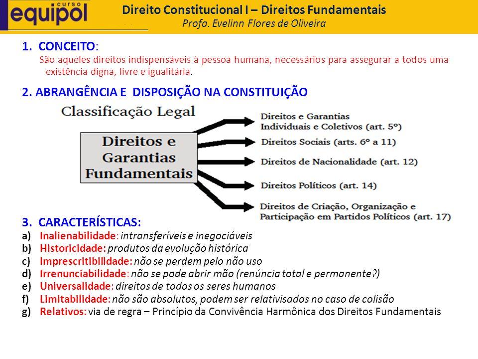 Direito Constitucional I – Direitos Fundamentais Profa. Evelinn Flores de Oliveira 1. CONCEITO: São aqueles direitos indispensáveis à pessoa humana, n