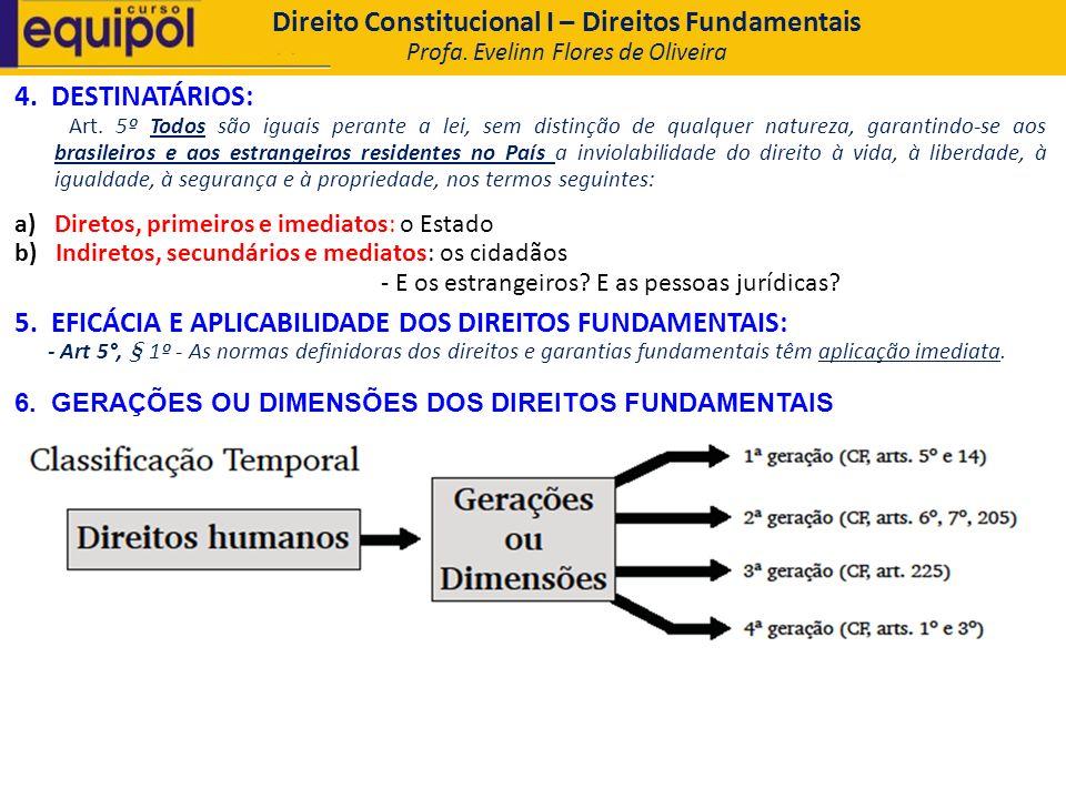 4. DESTINATÁRIOS: Art. 5º Todos são iguais perante a lei, sem distinção de qualquer natureza, garantindo-se aos brasileiros e aos estrangeiros residen