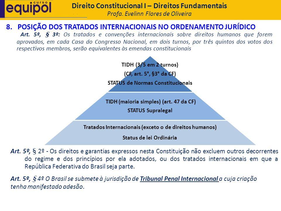 8. POSIÇÃO DOS TRATADOS INTERNACIONAIS NO ORDENAMENTO JURÍDICO Art. 5º, § 3º: Os tratados e convenções internacionais sobre direitos humanos que forem