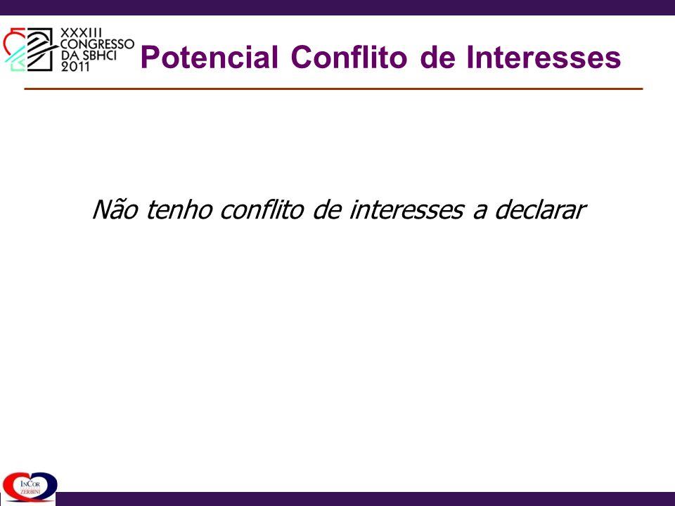 Potencial Conflito de Interesses Não tenho conflito de interesses a declarar