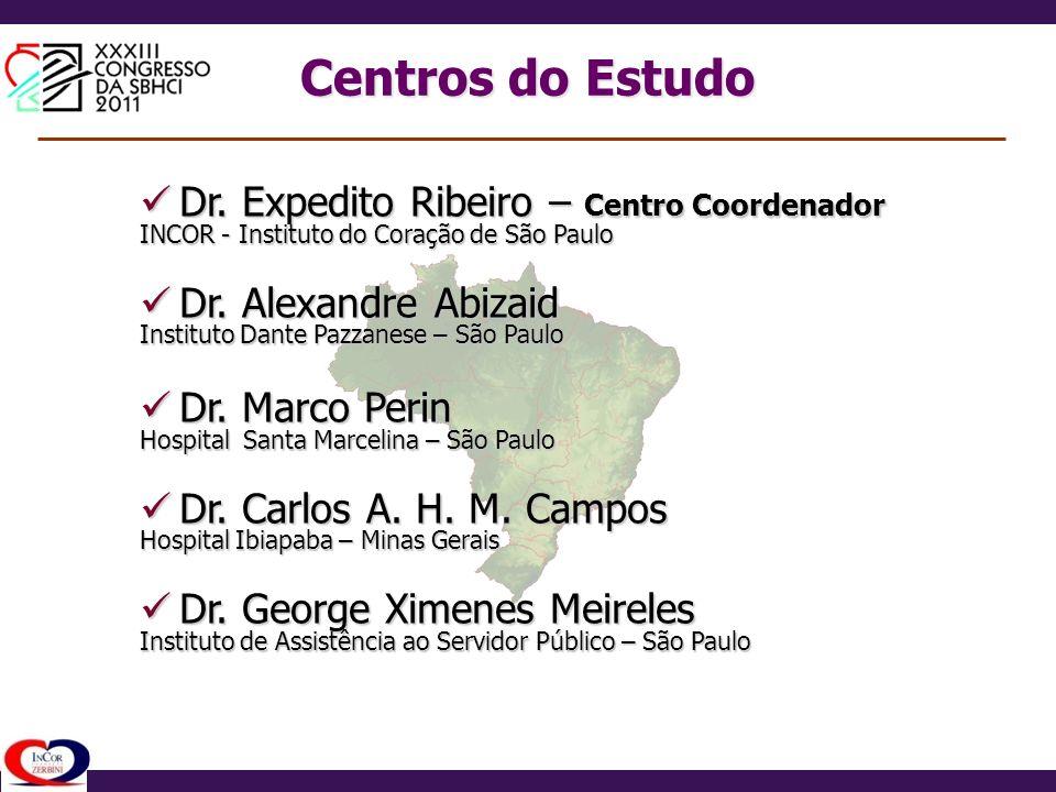 Dr. Expedito Ribeiro – Centro Coordenador Dr. Expedito Ribeiro – Centro Coordenador INCOR - Instituto do Coração de São Paulo Dr. Alexandre Abizaid Dr