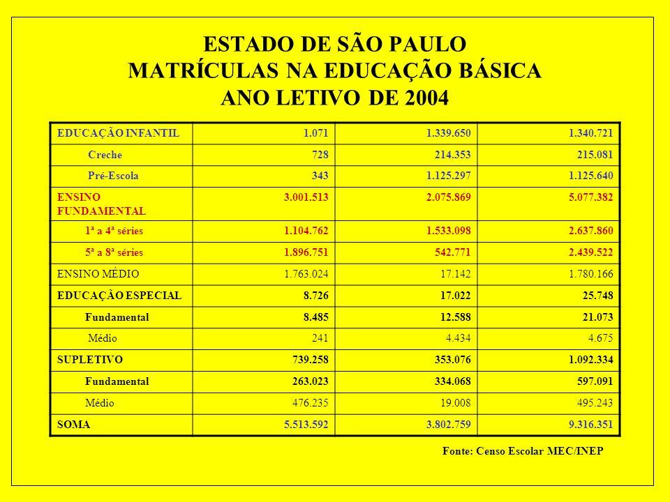 Estado de São Paulo Matrícula Inicial do Ensino Fundamental Regular Público AnoEstadoMunicípioTotal% Estado 19965.078.539726.7045.805.24387,48 19974.634.5601.075.8505.710.41081,16 19984.436.4071.197.8195.634.22678,74 19994.052.9721.511.1845.564.15672,84 20003.865.3201.595.8815.461.20170,78 20013.550.7931.771.7675.322.56066,71 20023.285.4181.935.1015.220.51962,93 20033.106.8122.011.7435.118.55560,70 20043.009.9982.088.4575.098.45559,04 Fonte: Censo Escolar MEC