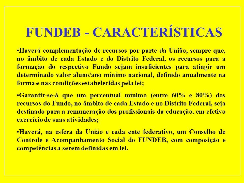 FUNDEB - CARACTERÍSTICAS Um Fundo de natureza contábil, de âmbito estadual e de abrangência nacional, formado por recursos providos, em cada Estado, p