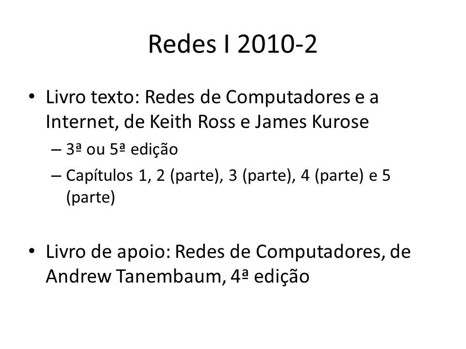 Redes I 2010-2 Livro texto: Redes de Computadores e a Internet, de Keith Ross e James Kurose – 3ª ou 5ª edição – Capítulos 1, 2 (parte), 3 (parte), 4