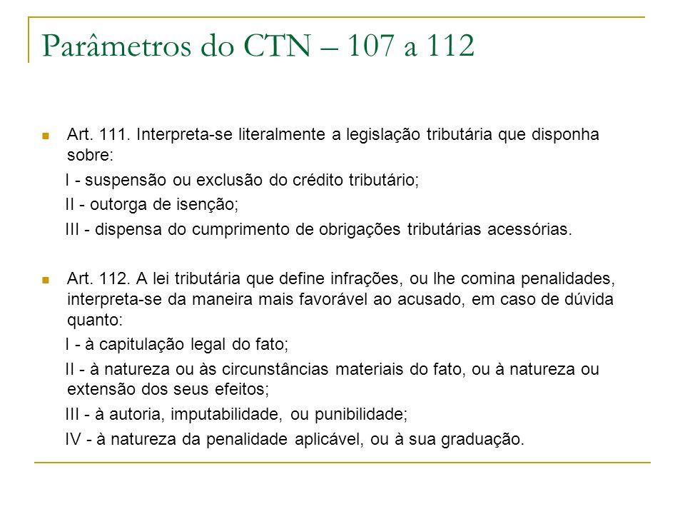 Parâmetros do CTN – 107 a 112 Art. 111. Interpreta-se literalmente a legislação tributária que disponha sobre: I - suspensão ou exclusão do crédito tr
