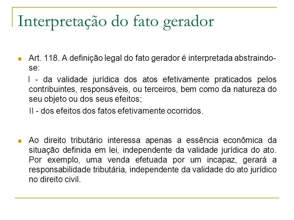Interpretação do fato gerador Art. 118. A definição legal do fato gerador é interpretada abstraindo- se: I - da validade jurídica dos atos efetivament