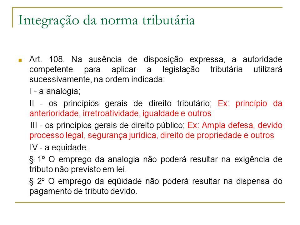 Integração da norma tributária Art. 108. Na ausência de disposição expressa, a autoridade competente para aplicar a legislação tributária utilizará su