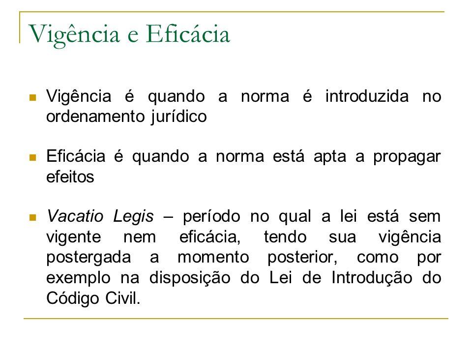 Vigência e Eficácia Vigência é quando a norma é introduzida no ordenamento jurídico Eficácia é quando a norma está apta a propagar efeitos Vacatio Leg