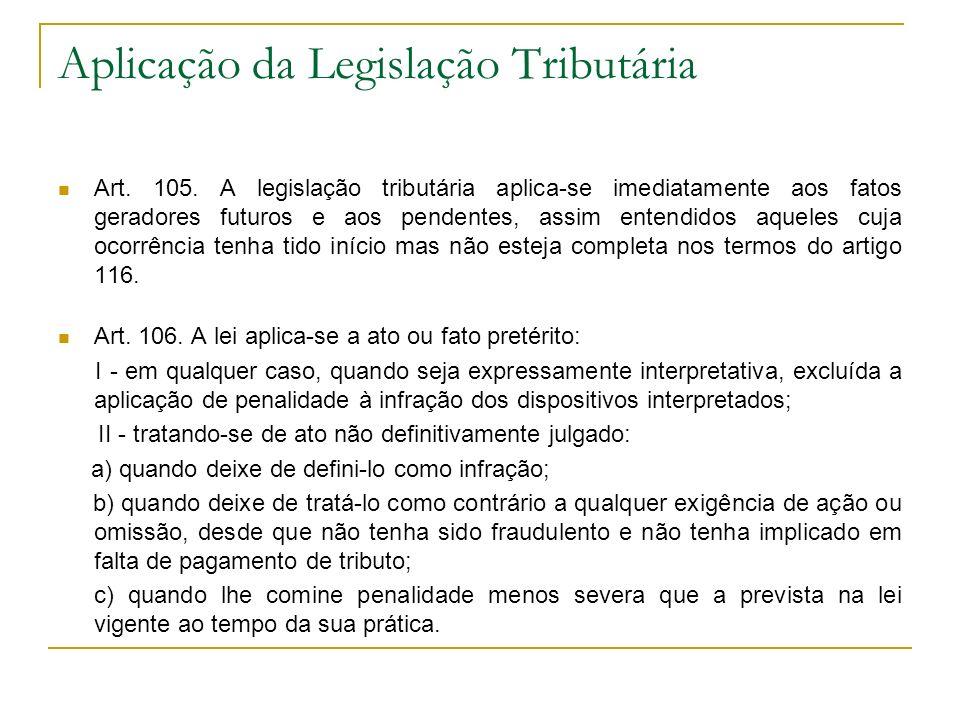 Aplicação da Legislação Tributária Art. 105. A legislação tributária aplica-se imediatamente aos fatos geradores futuros e aos pendentes, assim entend