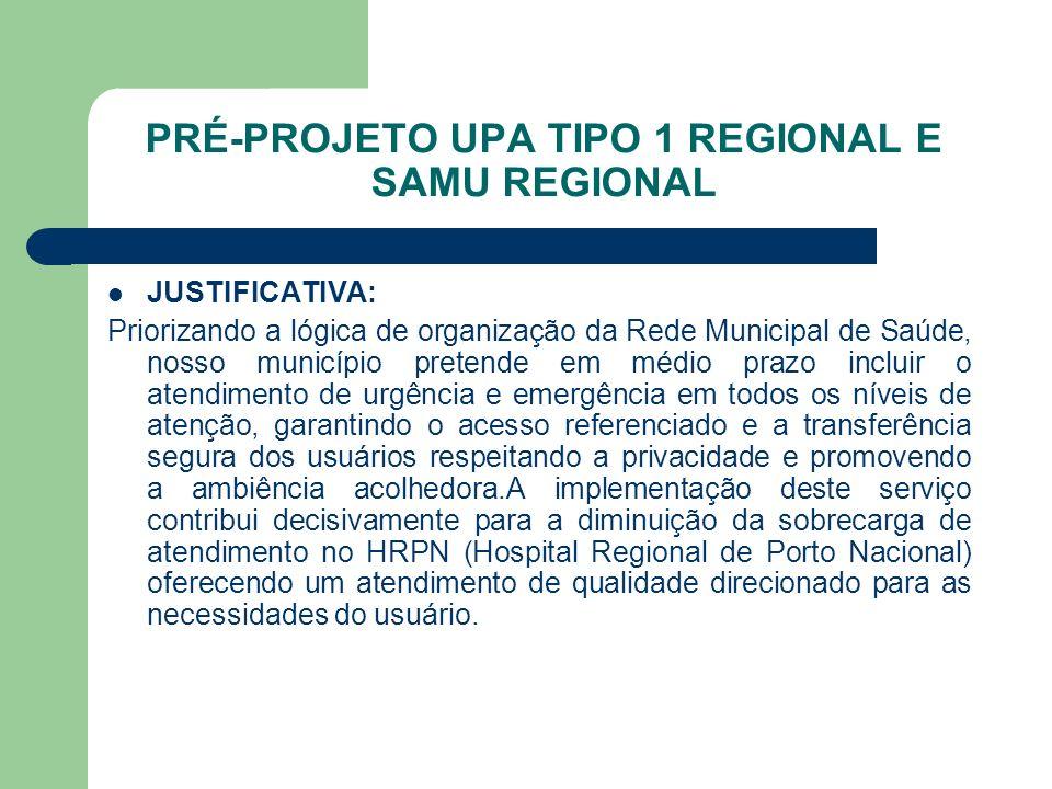PRÉ-PROJETO UPA TIPO 1 REGIONAL E SAMU REGIONAL JUSTIFICATIVA: Priorizando a lógica de organização da Rede Municipal de Saúde, nosso município pretend