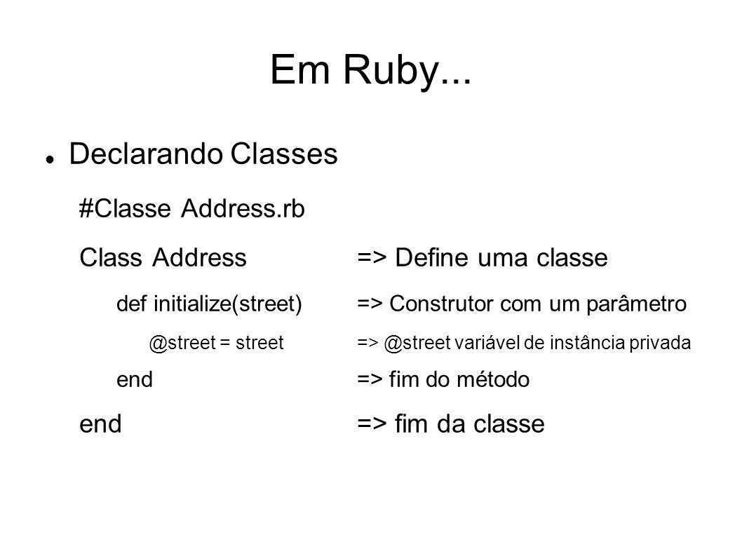 Em Ruby... Declarando Classes #Classe Address.rb Class Address=> Define uma classe def initialize(street)=> Construtor com um parâmetro @street = stre