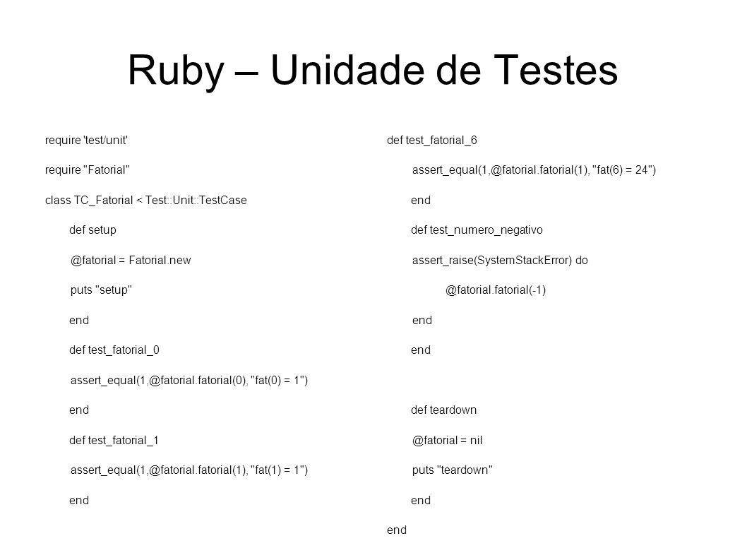 Ruby – Unidade de Testes require 'test/unit' require