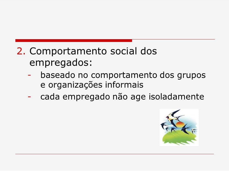 2.Comportamento social dos empregados: -baseado no comportamento dos grupos e organizações informais -cada empregado não age isoladamente