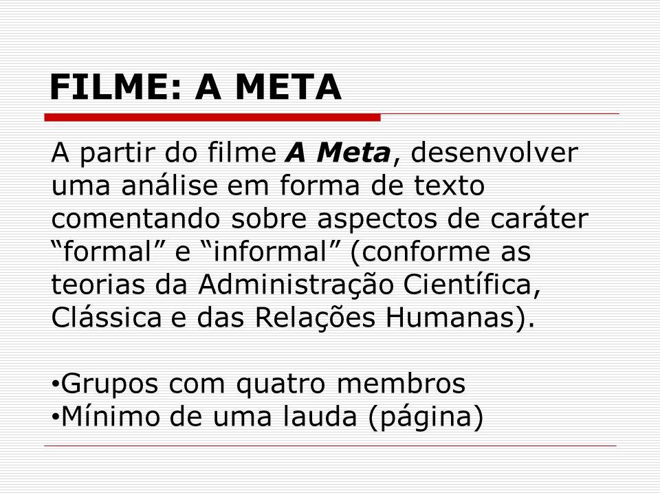 FILME: A META A partir do filme A Meta, desenvolver uma análise em forma de texto comentando sobre aspectos de caráter formal e informal (conforme as