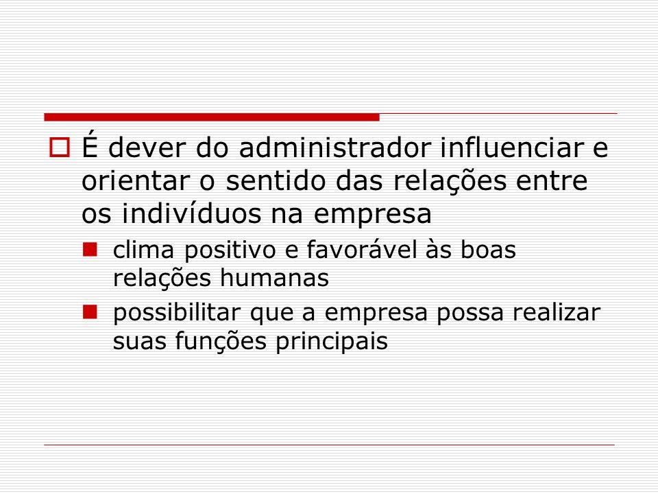 É dever do administrador influenciar e orientar o sentido das relações entre os indivíduos na empresa clima positivo e favorável às boas relações huma