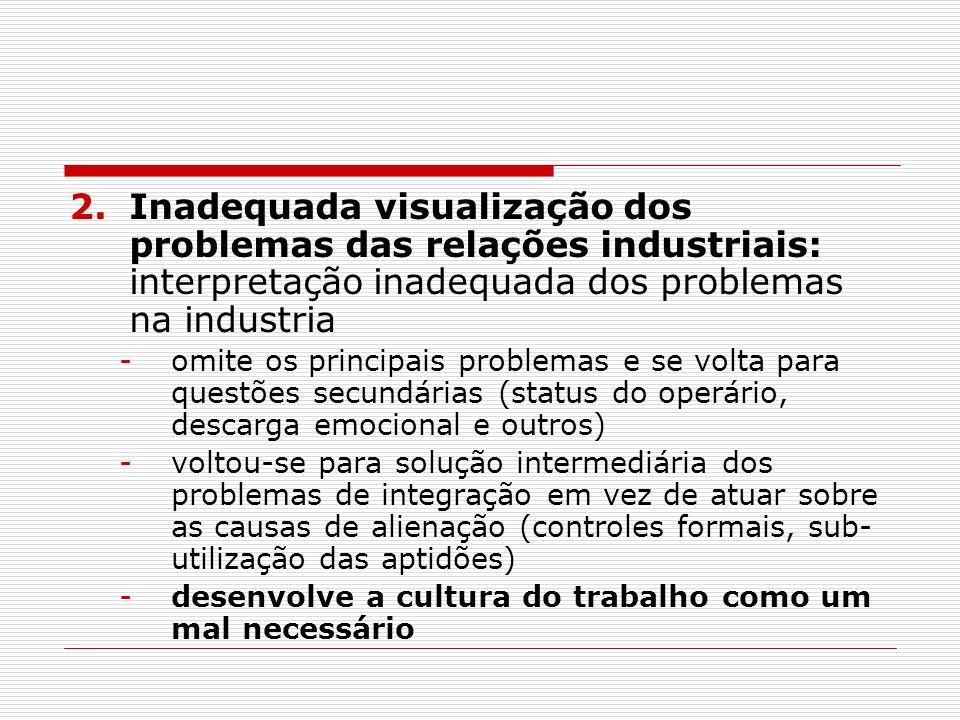 2.Inadequada visualização dos problemas das relações industriais: interpretação inadequada dos problemas na industria -omite os principais problemas e