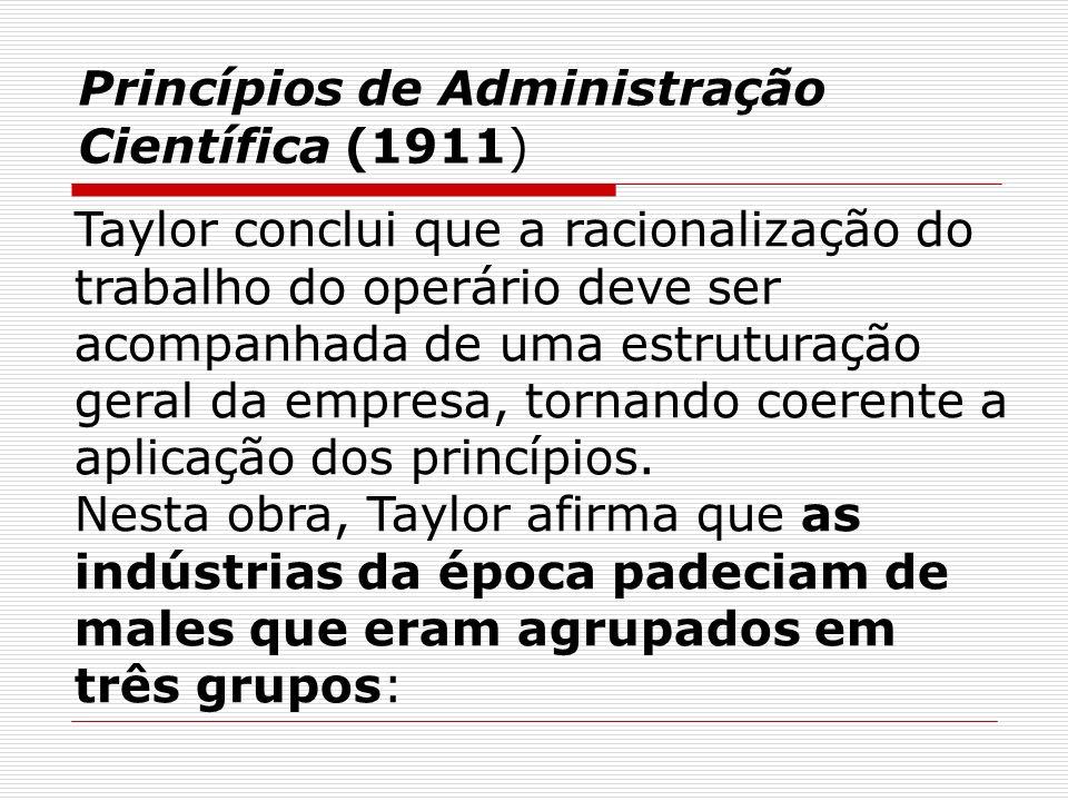 Princípios de Administração Científica (1911) Taylor conclui que a racionalização do trabalho do operário deve ser acompanhada de uma estruturação ger