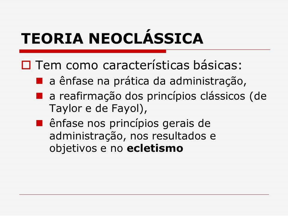 TEORIA NEOCLÁSSICA Tem como características básicas: a ênfase na prática da administração, a reafirmação dos princípios clássicos (de Taylor e de Fayo
