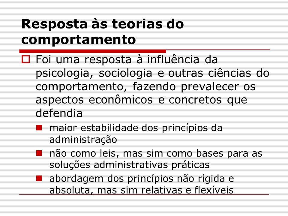 Resposta às teorias do comportamento Foi uma resposta à influência da psicologia, sociologia e outras ciências do comportamento, fazendo prevalecer os