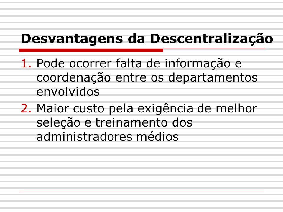 Desvantagens da Descentralização 1.Pode ocorrer falta de informação e coordenação entre os departamentos envolvidos 2.Maior custo pela exigência de me