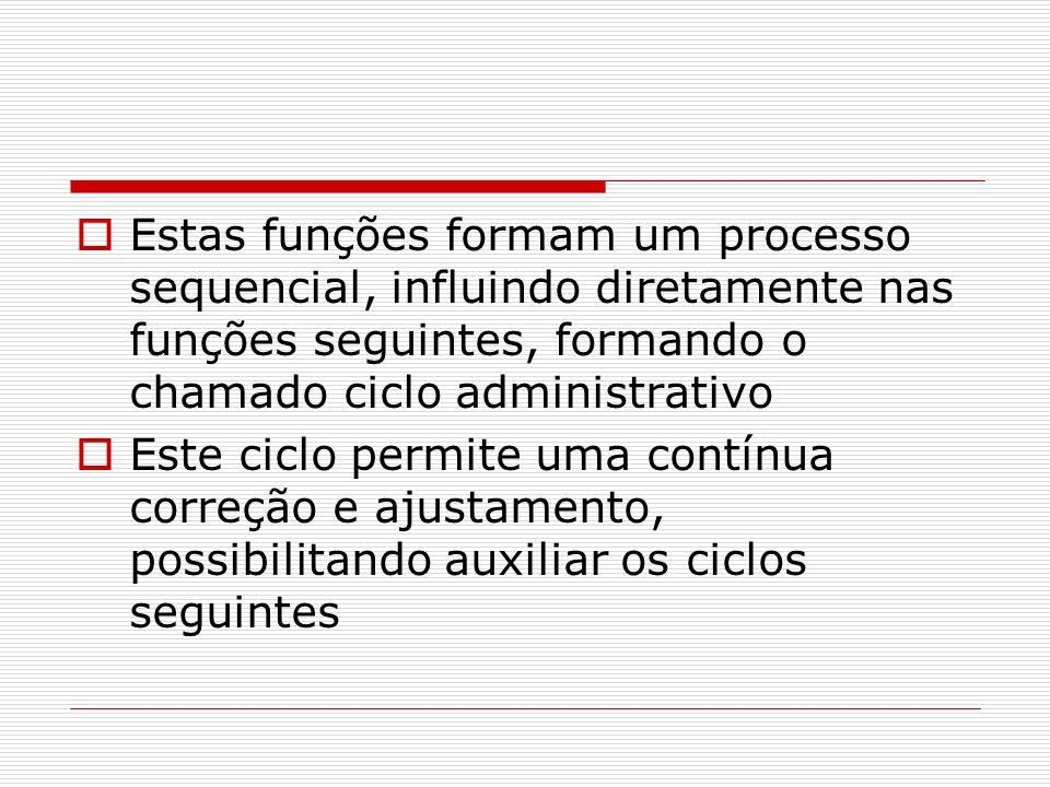 Estas funções formam um processo sequencial, influindo diretamente nas funções seguintes, formando o chamado ciclo administrativo Este ciclo permite u