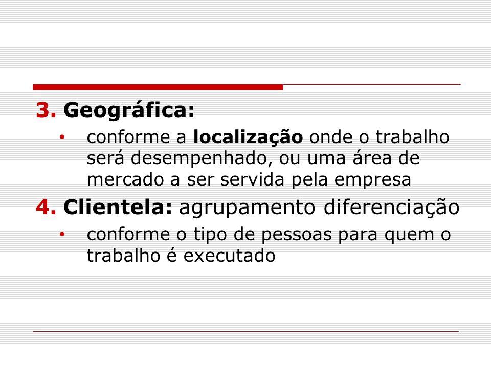 3.Geográfica: conforme a localização onde o trabalho será desempenhado, ou uma área de mercado a ser servida pela empresa 4.Clientela: agrupamento dif