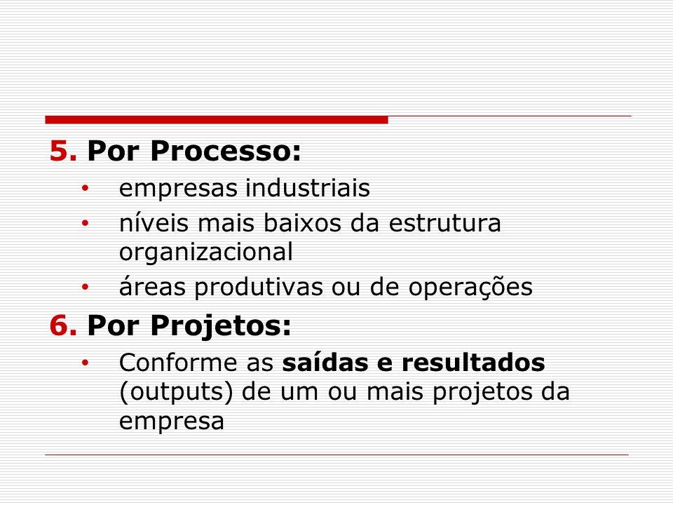 5.Por Processo: empresas industriais níveis mais baixos da estrutura organizacional áreas produtivas ou de operações 6.Por Projetos: Conforme as saída