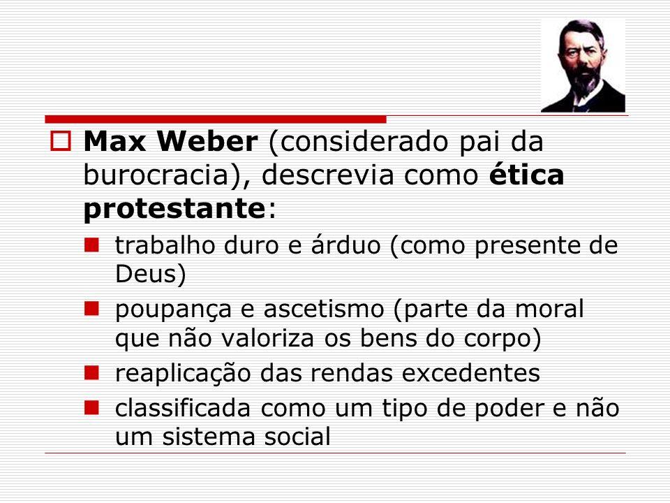 Max Weber (considerado pai da burocracia), descrevia como ética protestante: trabalho duro e árduo (como presente de Deus) poupança e ascetismo (parte