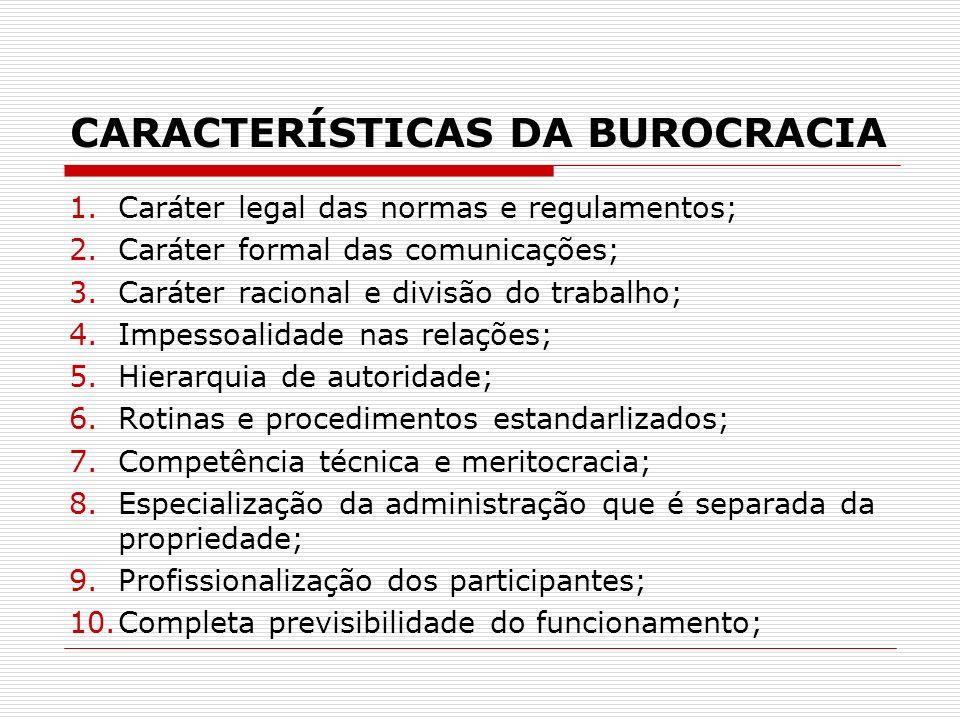 CARACTERÍSTICAS DA BUROCRACIA 1.Caráter legal das normas e regulamentos; 2.Caráter formal das comunicações; 3.Caráter racional e divisão do trabalho;