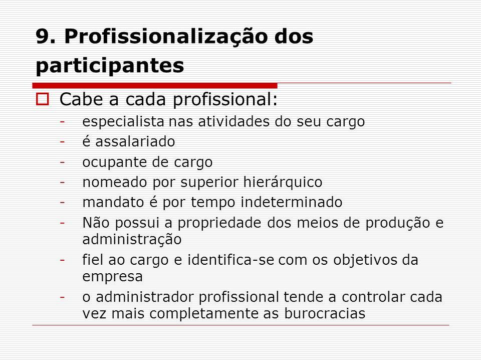 9. Profissionalização dos participantes Cabe a cada profissional: -especialista nas atividades do seu cargo -é assalariado -ocupante de cargo -nomeado