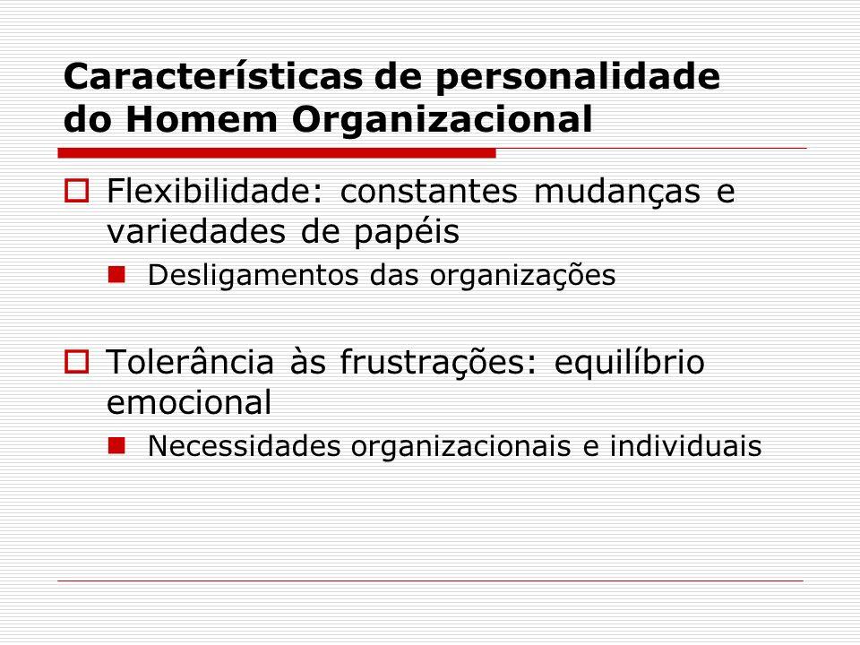 Características de personalidade do Homem Organizacional Flexibilidade: constantes mudanças e variedades de papéis Desligamentos das organizações Tole