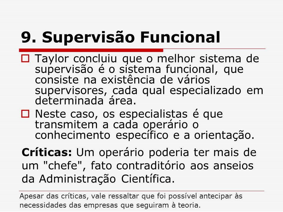Taylor concluiu que o melhor sistema de supervisão é o sistema funcional, que consiste na existência de vários supervisores, cada qual especializado e
