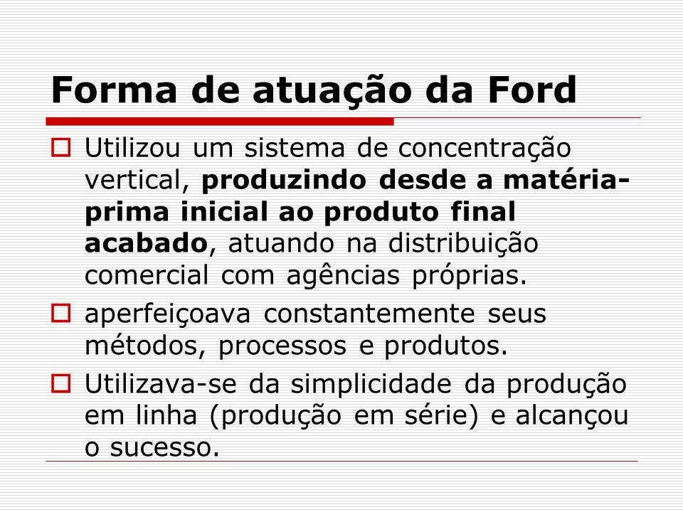 Forma de atuação da Ford Utilizou um sistema de concentração vertical, produzindo desde a matéria- prima inicial ao produto final acabado, atuando na