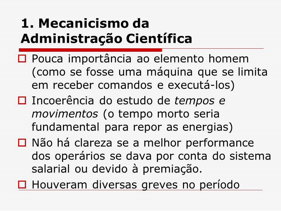 1. Mecanicismo da Administração Científica Pouca importância ao elemento homem (como se fosse uma máquina que se limita em receber comandos e executá-