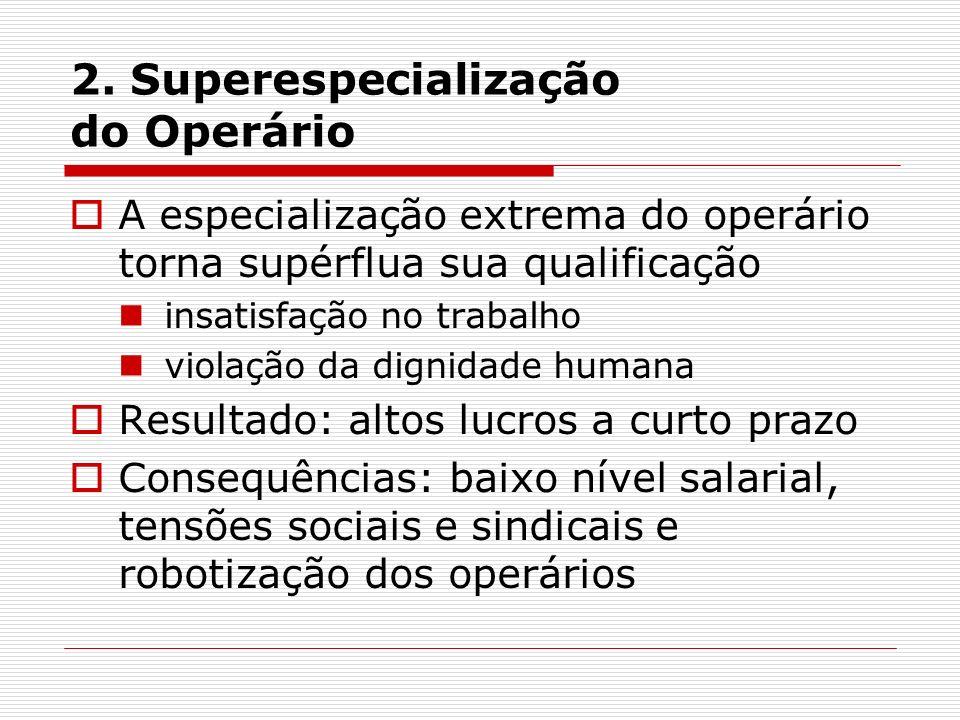 2. Superespecialização do Operário A especialização extrema do operário torna supérflua sua qualificação insatisfação no trabalho violação da dignidad
