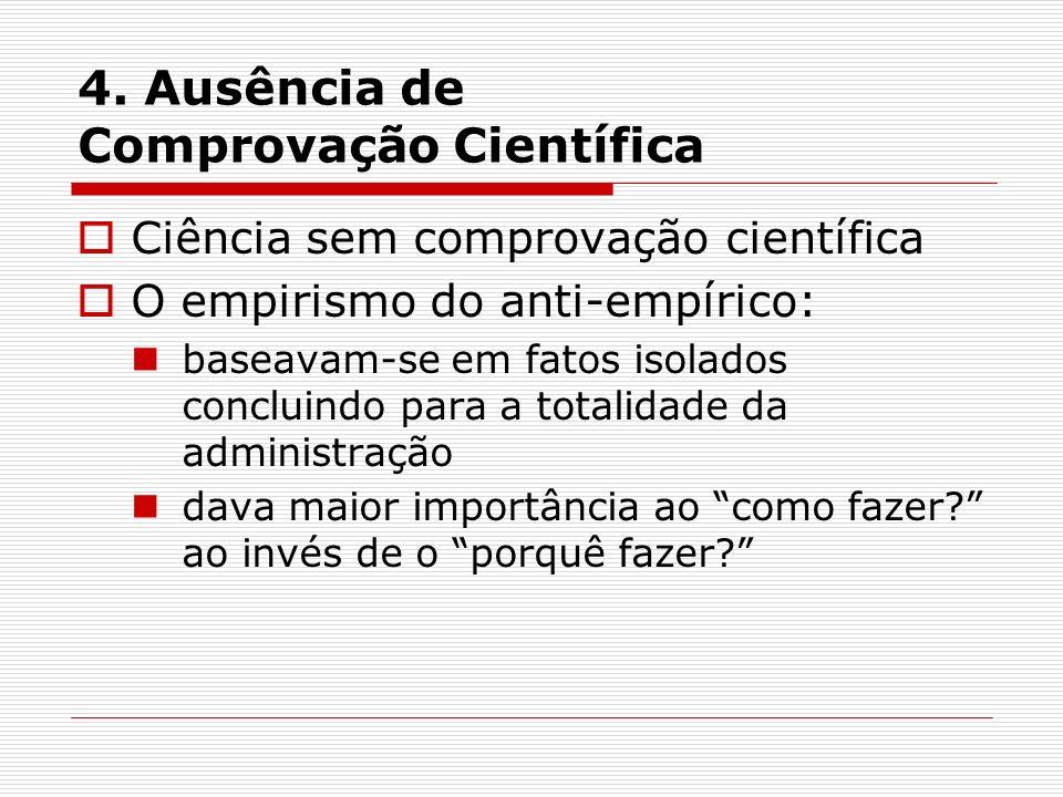 4. Ausência de Comprovação Científica Ciência sem comprovação científica O empirismo do anti-empírico: baseavam-se em fatos isolados concluindo para a