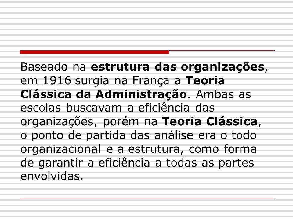 Baseado na estrutura das organizações, em 1916 surgia na França a Teoria Clássica da Administração. Ambas as escolas buscavam a eficiência das organiz