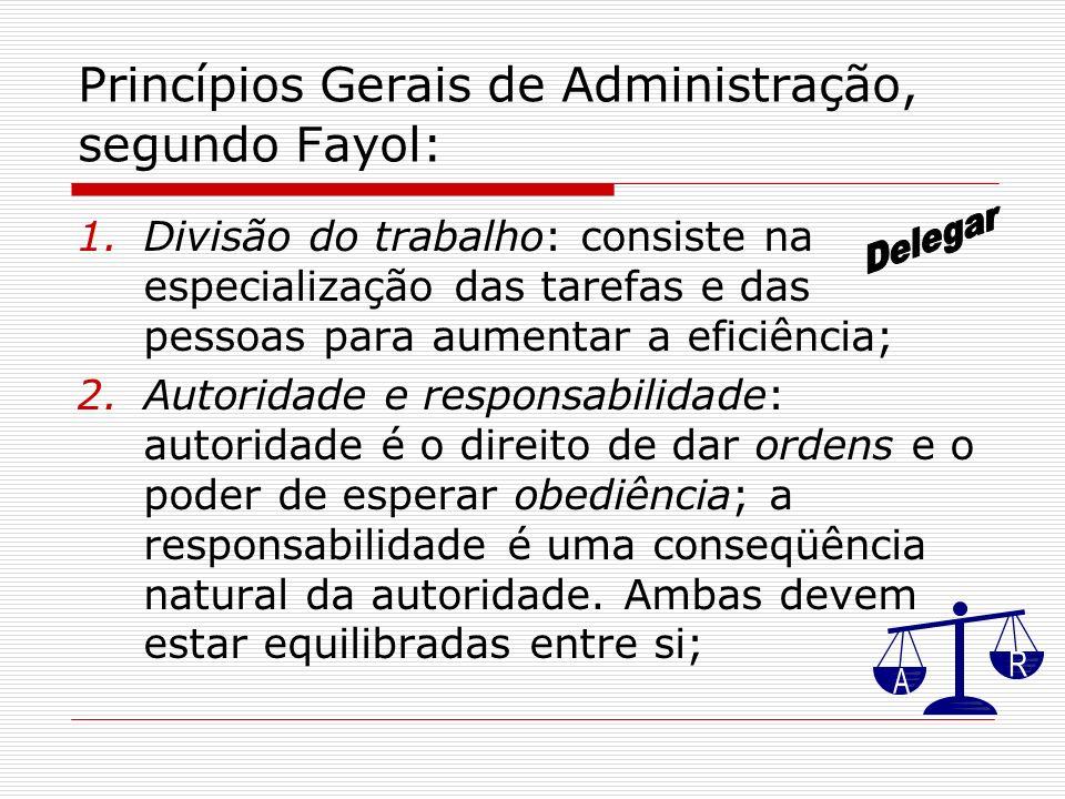 Princípios Gerais de Administração, segundo Fayol: 1.Divisão do trabalho: consiste na especialização das tarefas e das pessoas para aumentar a eficiên