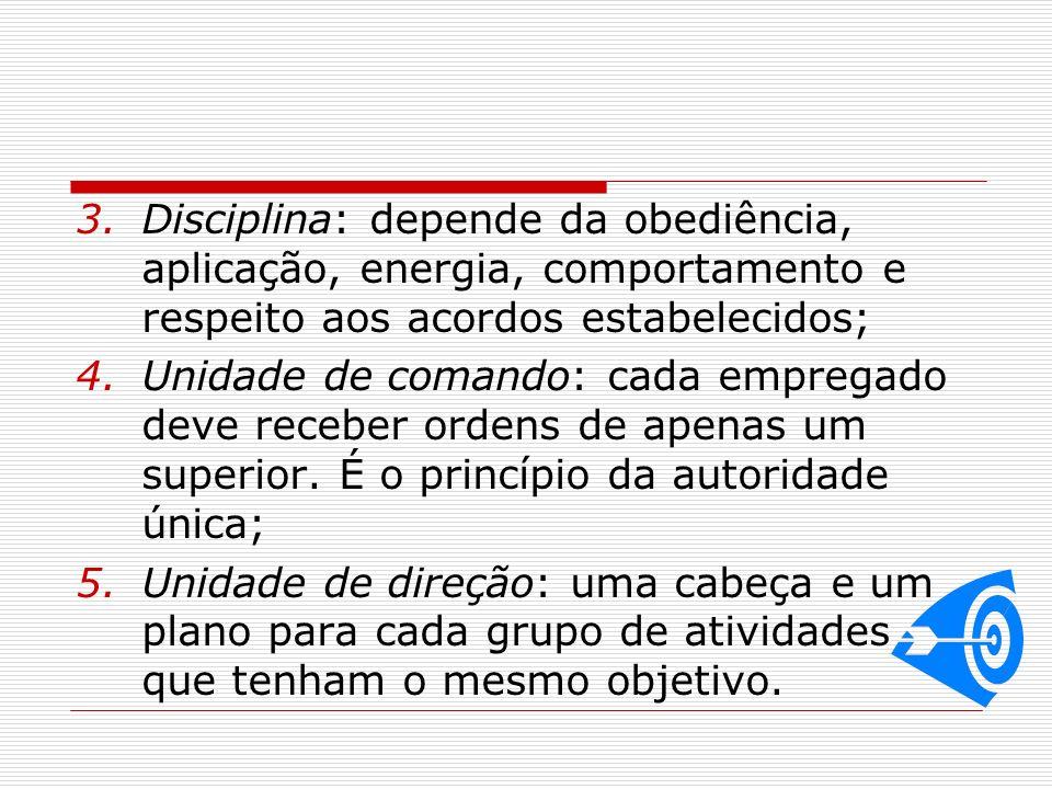3.Disciplina: depende da obediência, aplicação, energia, comportamento e respeito aos acordos estabelecidos; 4.Unidade de comando: cada empregado deve