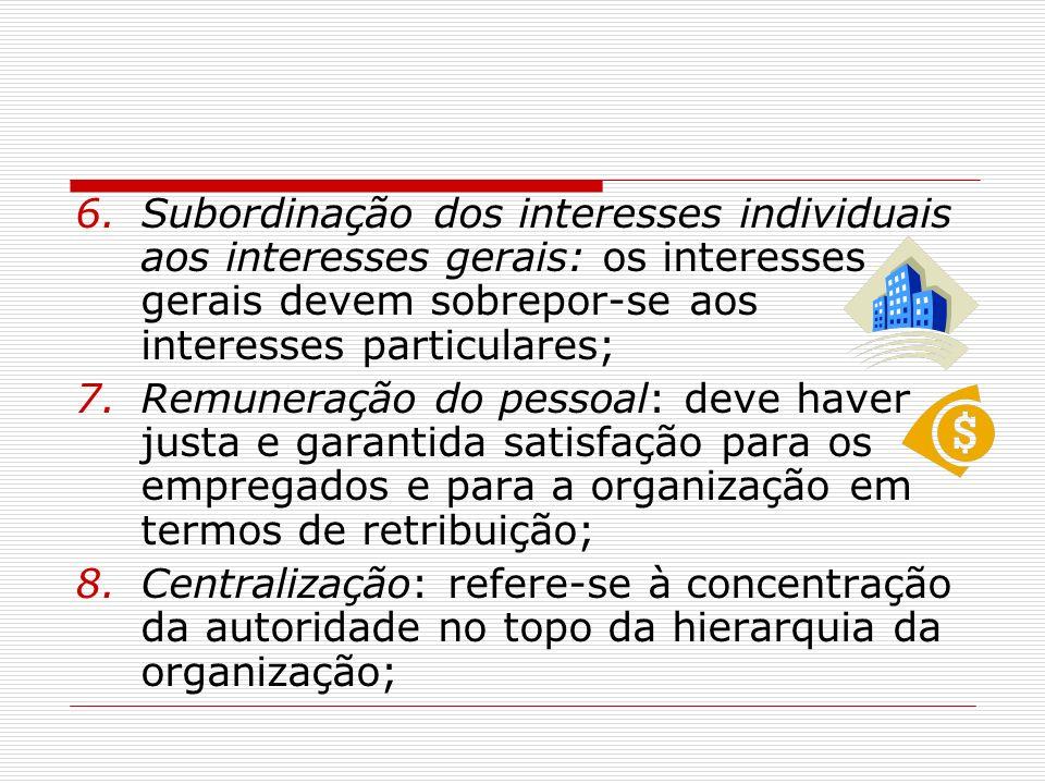 6.Subordinação dos interesses individuais aos interesses gerais: os interesses gerais devem sobrepor-se aos interesses particulares; 7.Remuneração do