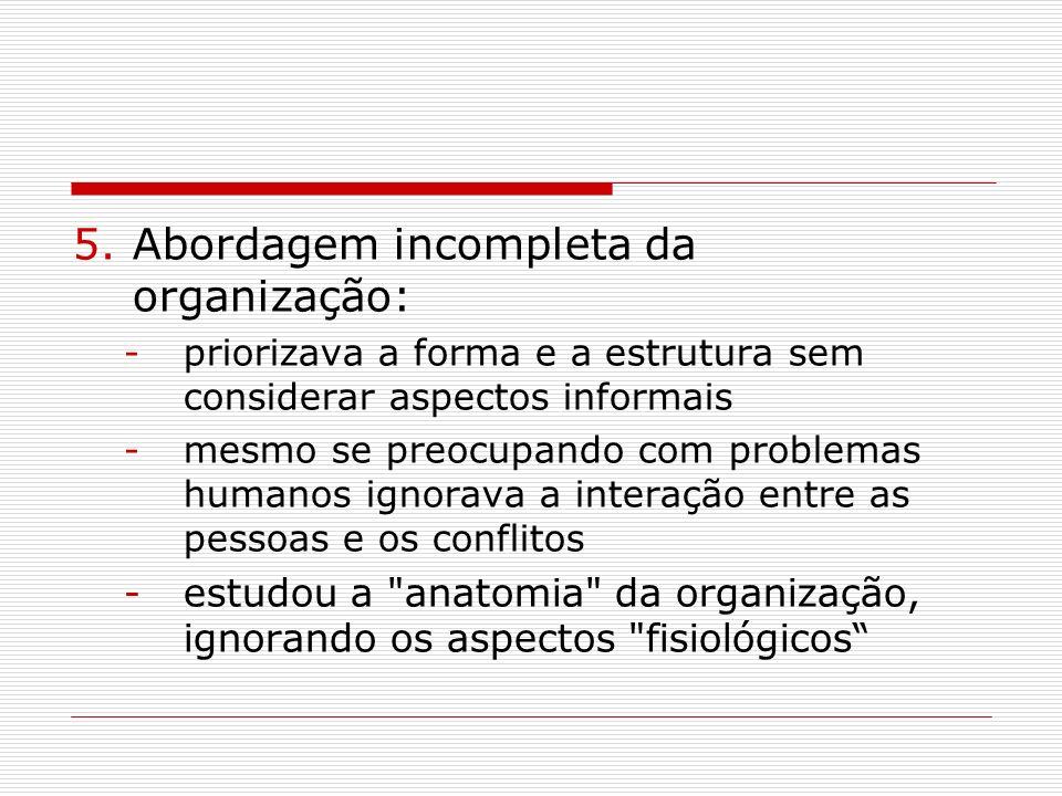 5.Abordagem incompleta da organização: -priorizava a forma e a estrutura sem considerar aspectos informais -mesmo se preocupando com problemas humanos