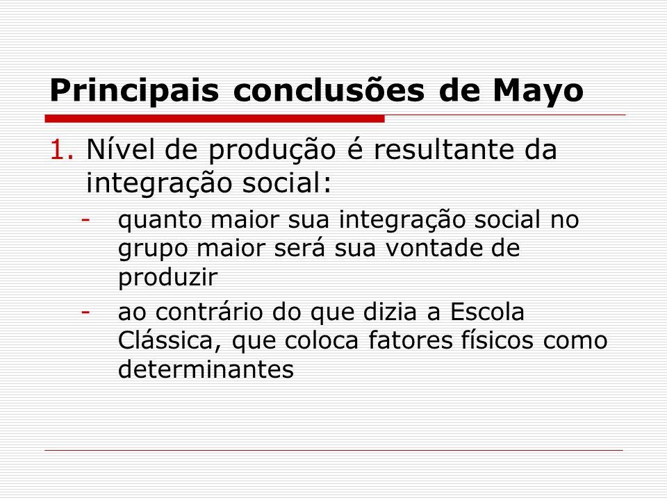 Principais conclusões de Mayo 1.Nível de produção é resultante da integração social: -quanto maior sua integração social no grupo maior será sua vonta